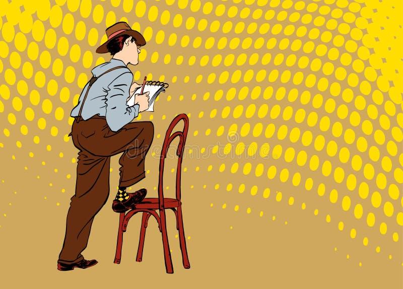 Le journaliste écrit le texte Journaliste interviewant quelqu'un Rétro journaliste illustration stock