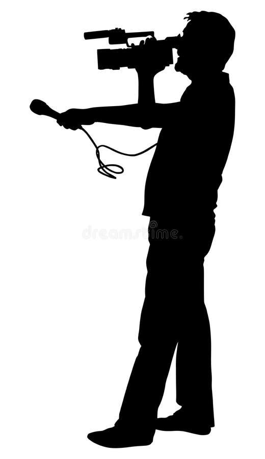 Le journaliste de journaliste de cameraman avec le microphone a fait la silhouette d'entrevue illustration de vecteur