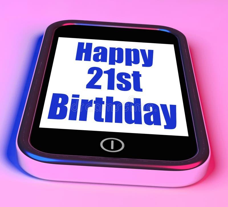Le joyeux 21ème anniversaire au téléphone signifie vingt premier illustration de vecteur