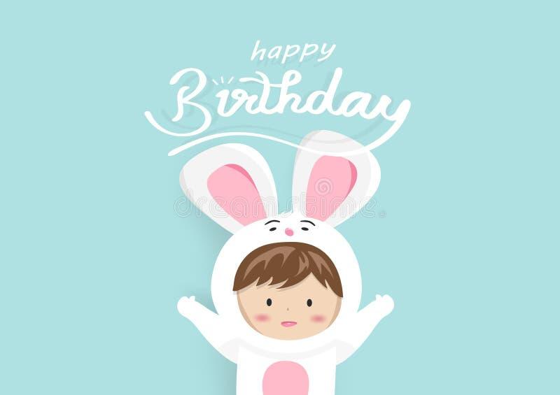 Le joyeux anniversaire, carte de voeux, mascotte adorable d'enfant de lapin, bande dessinée mignonne employant pour des enfants c illustration libre de droits