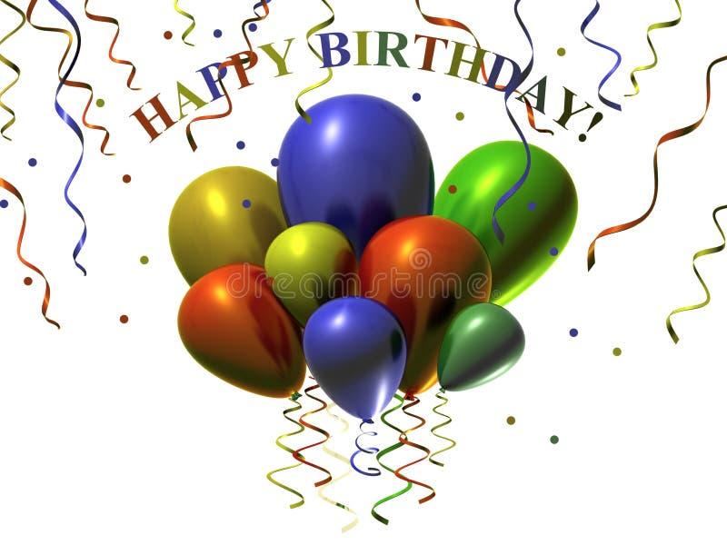 Le joyeux anniversaire coloré monte en ballon l'illustration illustration libre de droits