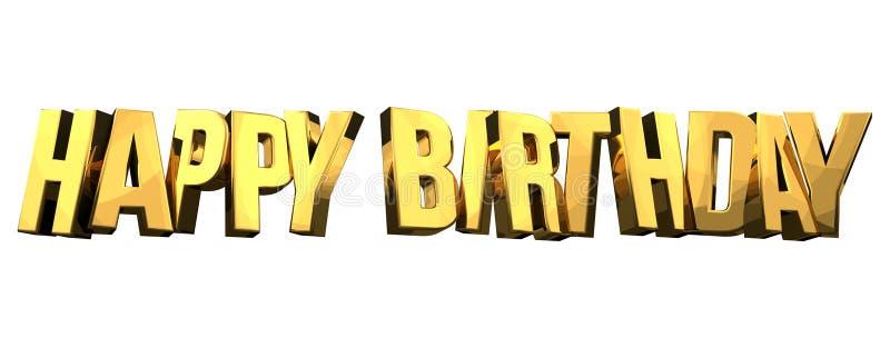Le joyeux anniversaire 3d d'isolement d'or rendent la police audacieuse de symbole illustration libre de droits
