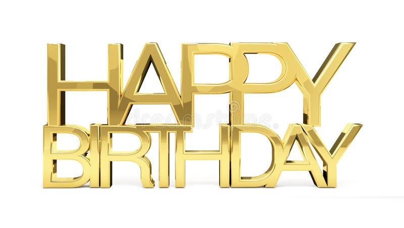 Le joyeux anniversaire 3d mince d'or rendent illustration libre de droits