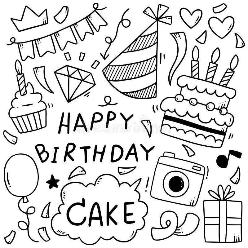 07-09-015 le joyeux anniversaire de griffonnage tiré par la main de partie ornemente l'illustration de vecteur de modèle de fond illustration libre de droits