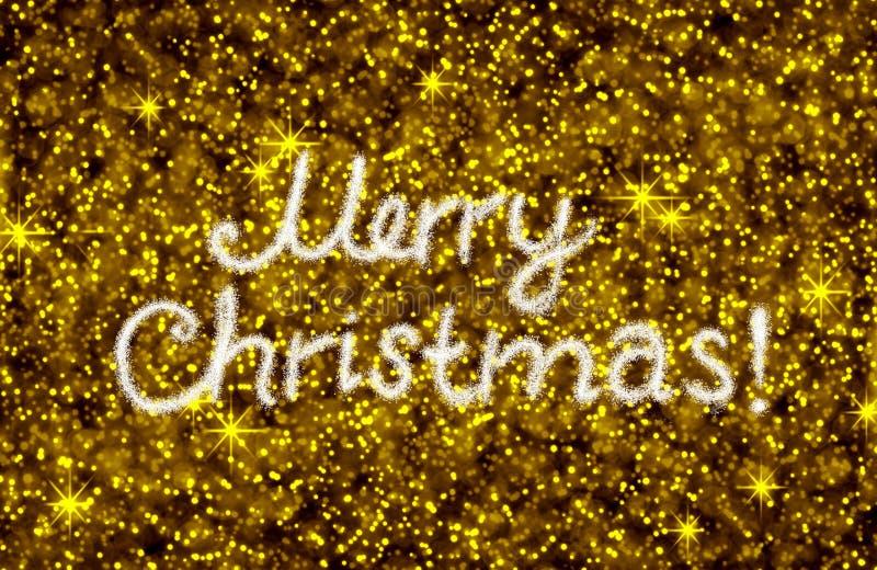 Le Joyeux Noël écrivent sur le fond d'or de bokeh images stock