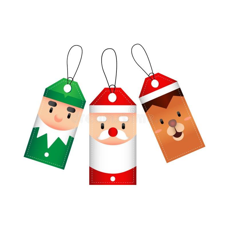 Le Joyeux Noël étiquette avec l'elfe, Santa, renne Illustration de vecteur illustration stock