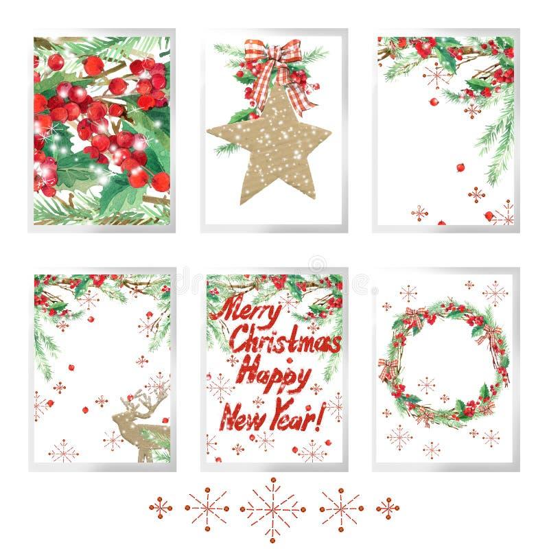 Le Joyeux Noël d'aquarelle a placé pour des cartes de voeux de vacances illustration de vecteur
