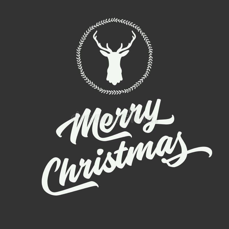 Le Joyeux Noël et la bonne année avec la silhouette du renne se dirigent illustration libre de droits