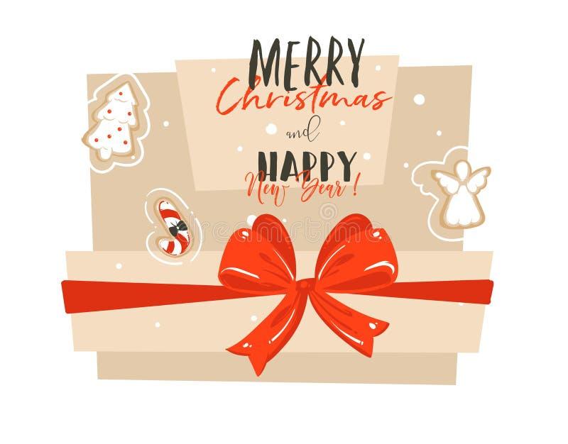 Le Joyeux Noël et la bonne année d'abrégé sur tiré par la main vecteur chronomètrent la carte de voeux d'illustration de bande de illustration de vecteur