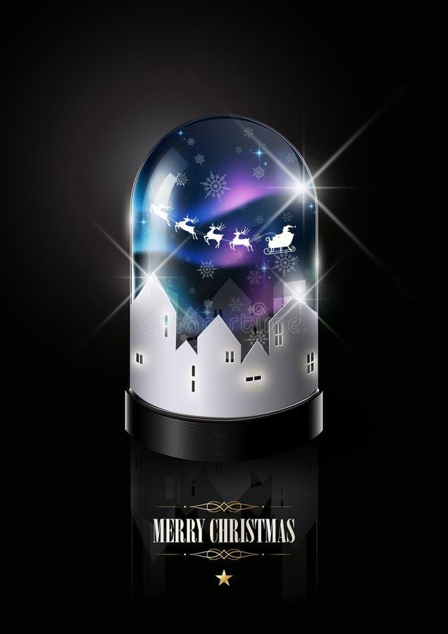 Le Joyeux Noël et la bonne année, Santa Claus conduit le traîneau avec le renne dans le dôme en verre, concept d'imagination, ill illustration stock