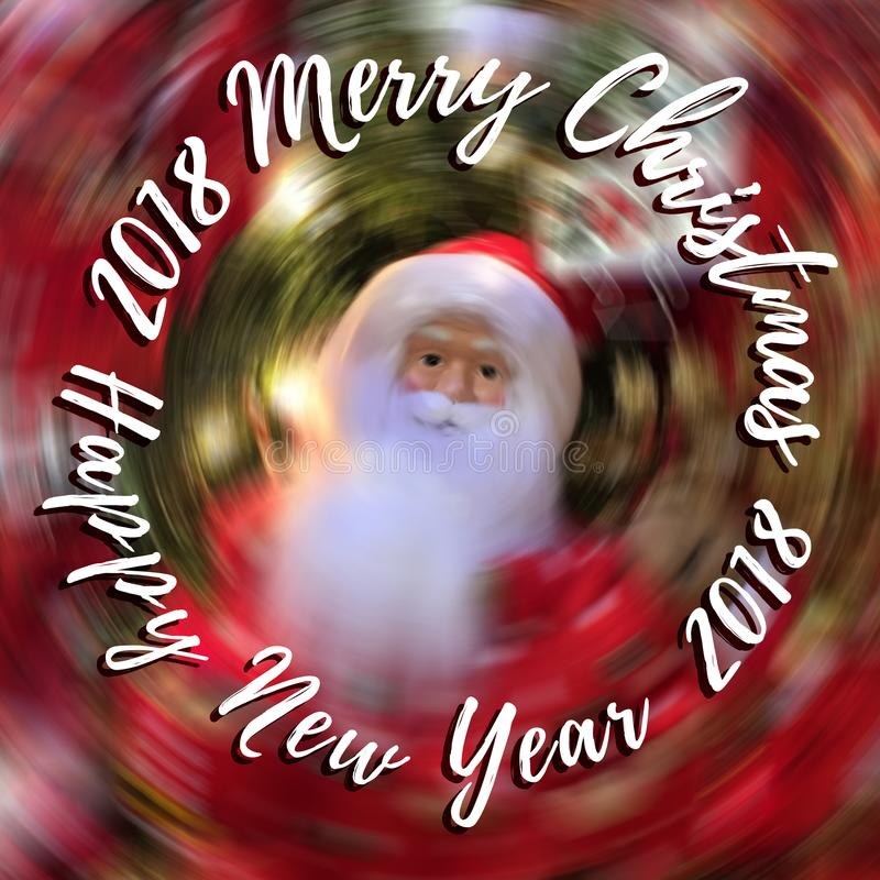 Le Joyeux Noël et la bonne année textotent sur le fond brouillé avec Santa Claus image libre de droits