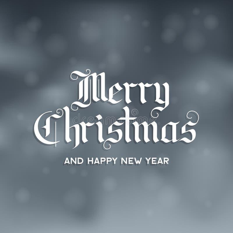 Le Joyeux Noël et la bonne année textotent sur le fond neigeux Lettres gothiques illustration stock