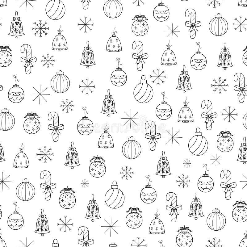 Le Joyeux Noël et la bonne année tirés par la main gribouillent la PA sans couture illustration stock