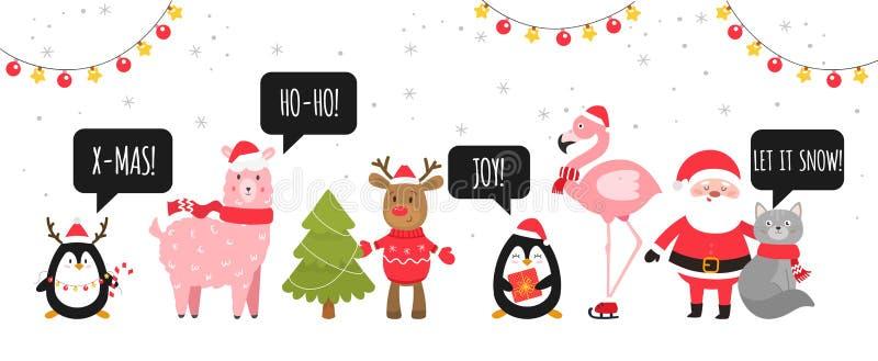 Le Joyeux Noël et nouveaux heureux s'approchent Animaux mignons de Noël avec des bulles de la parole Vecteur illustration stock