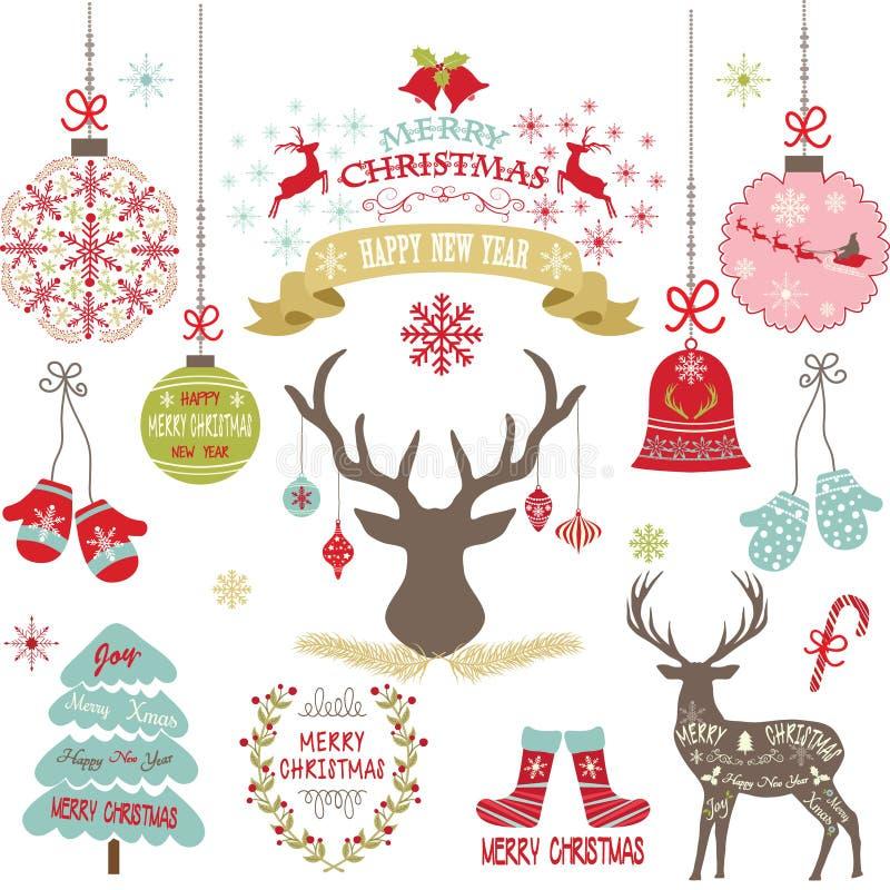 Le Joyeux Noël, Noël fleurit, des cerfs communs, Noël rustique, arbre de Noël, ensemble de décoration de Noël illustration libre de droits