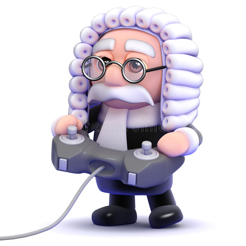 le juge 3d joue un jeu vidéo illustration stock