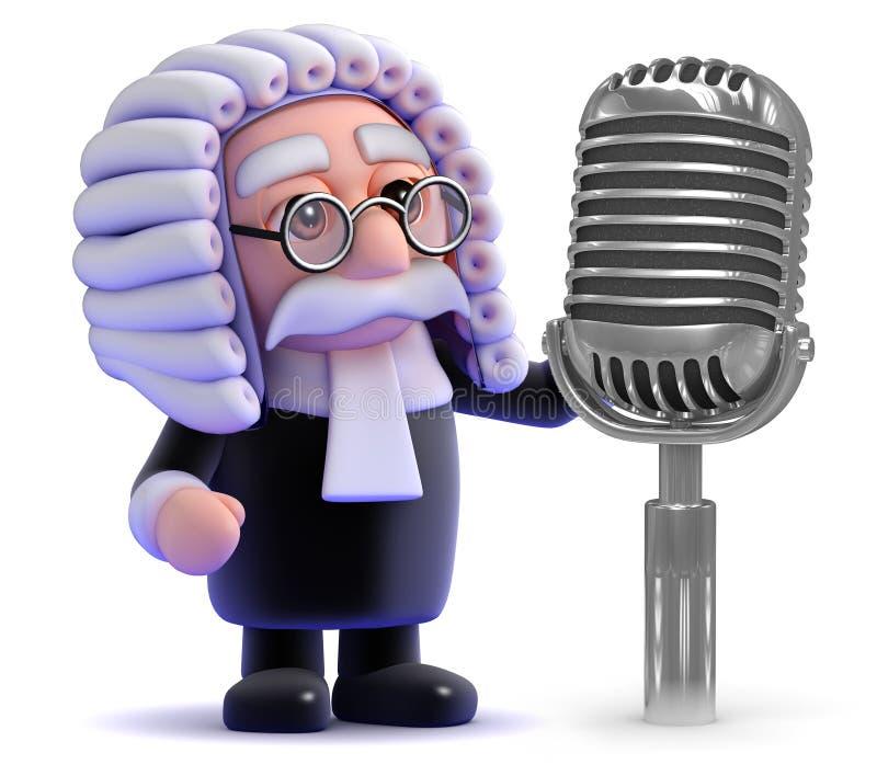 le juge 3d utilise un vieux rétro microphone par radio illustration libre de droits
