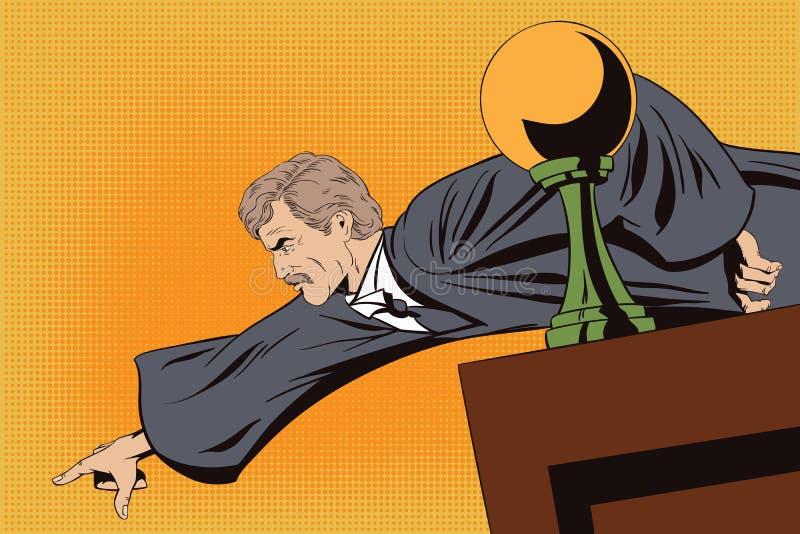 Le juge fâché montre un doigt du podium illustration libre de droits