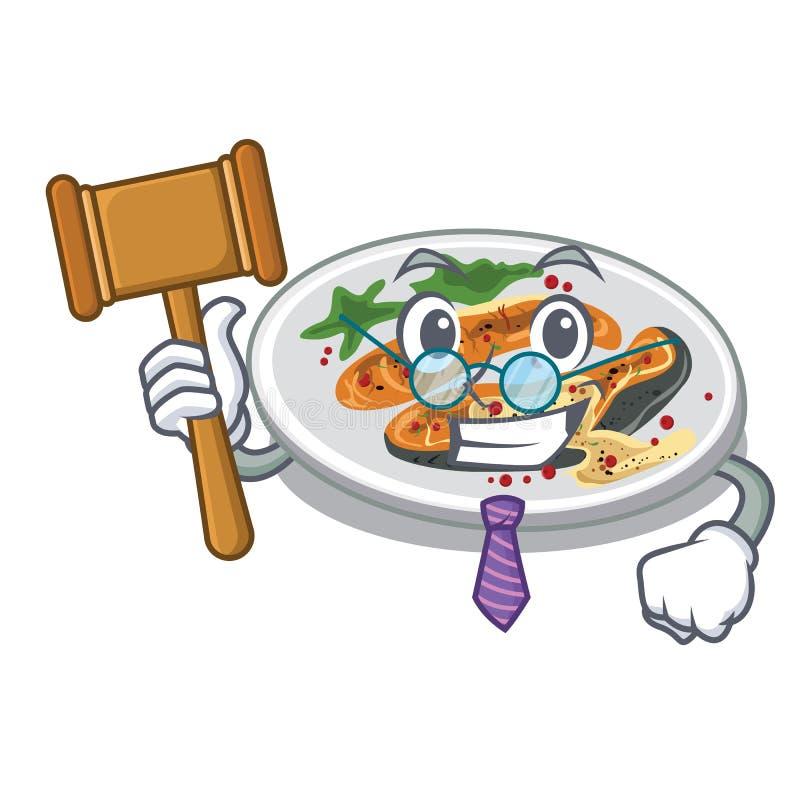 Le juge a grillé des saumons d'un plat de bande dessinée illustration de vecteur