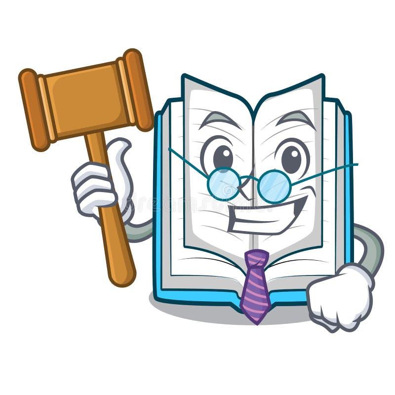 Le juge a ouvert le livre dans la boîte de bande dessinée illustration de vecteur