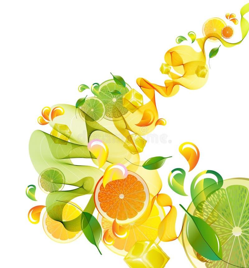 Le jus d'orange et de limette éclaboussent de l'onde abstraite illustration de vecteur
