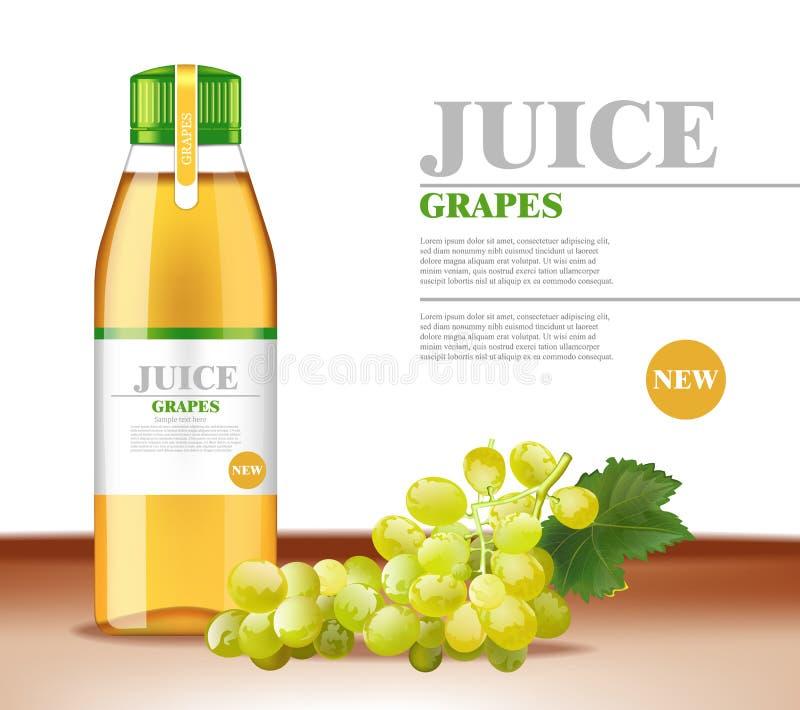 Le jus de raisins blancs dirigent réaliste Moquerie d'emballage de produit  Le label conçoit la bouteille en verre illustration de vecteur