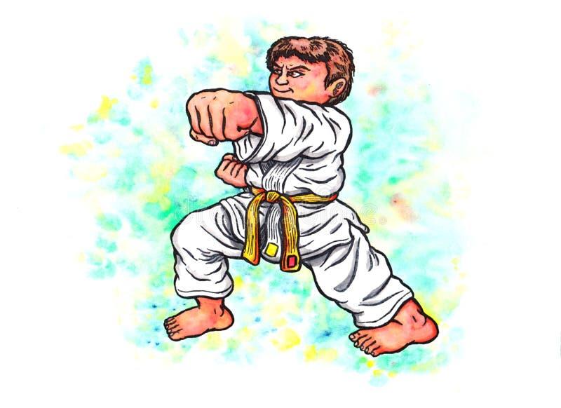 Le karaté badine - le garçon poinçonnant la puissance de Karaté-font, 2017 illustration libre de droits