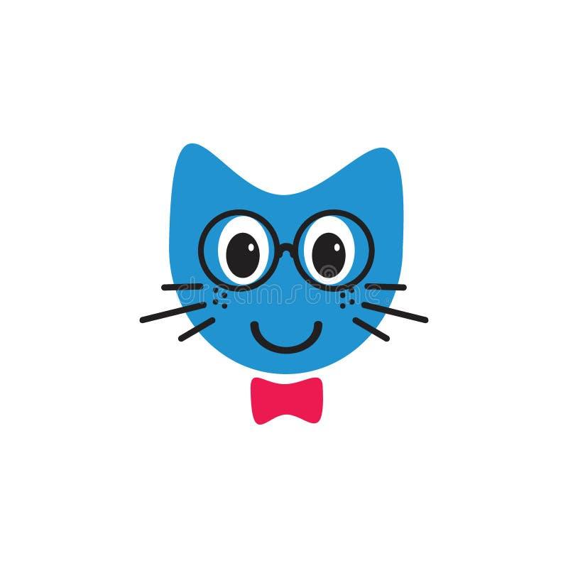 Le katten med begrepp för logo för exponeringsglasemoticonillustrationer stock illustrationer