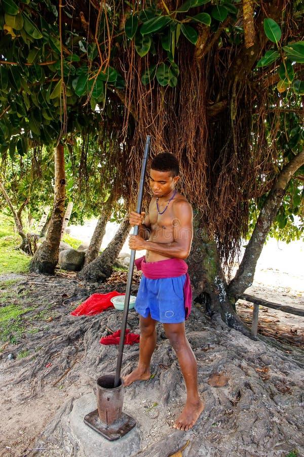 Le kava de broyage de jeune homme s'enracine dans le village de Lavena, île de Taveuni, photo stock