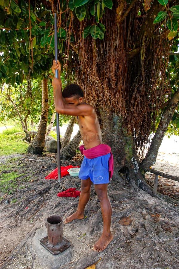 Le kava de broyage de jeune homme s'enracine dans le village de Lavena, île de Taveuni, photos stock
