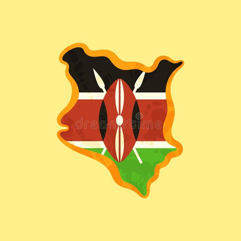 Le Kenya - carte colorée avec le drapeau kenyan illustration de vecteur