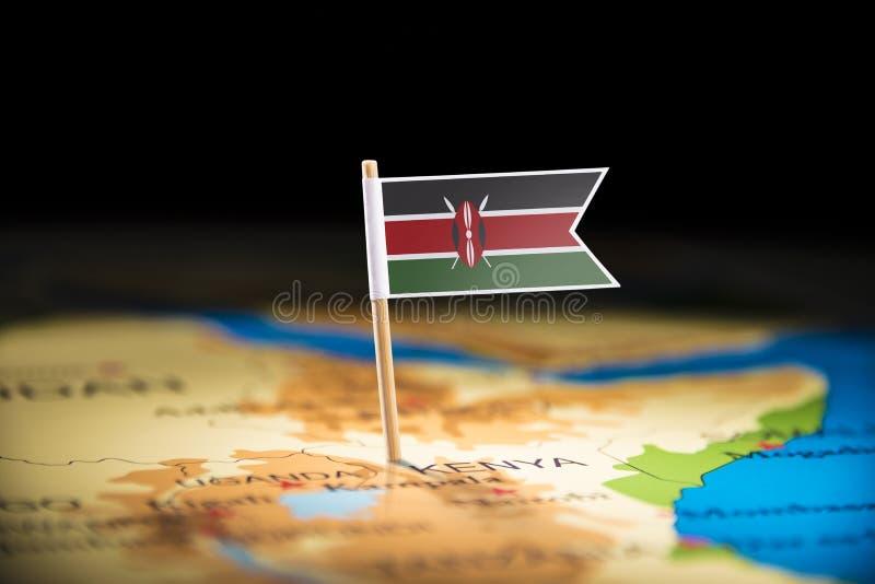 Le Kenya a identifié par un drapeau sur la carte photo libre de droits