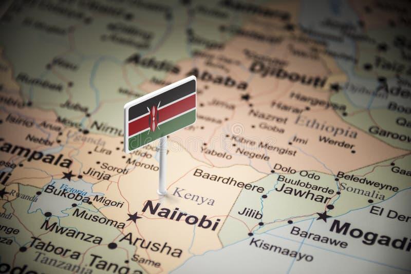 Le Kenya a identifié par un drapeau sur la carte photo stock