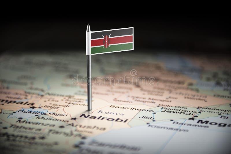 Le Kenya a identifié par un drapeau sur la carte image stock