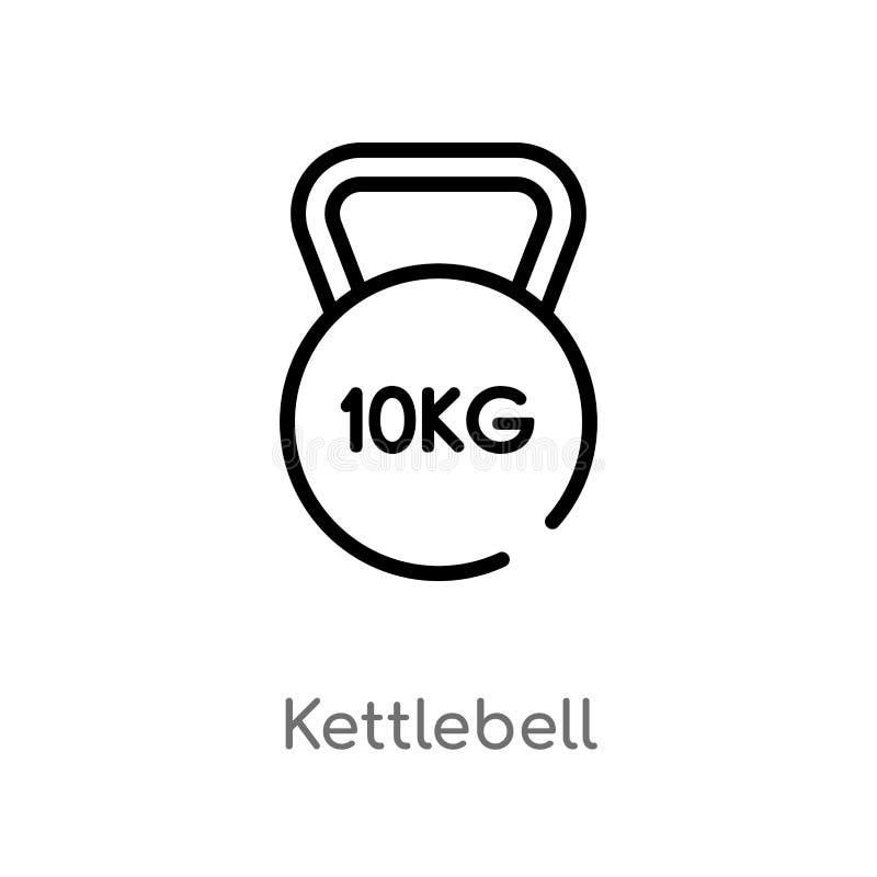 le kettlebell d'ensemble dirigent l'icône ligne simple noire d'isolement illustration d'élément de concept de santé Course Editab illustration libre de droits