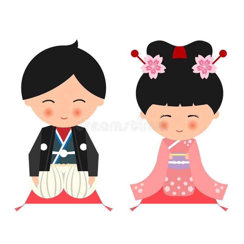 Le kimono janpanese mignon d'usage de garçon et de fille s'habillent et se reposent sur la conception de vecteur d'oreiller illustration libre de droits