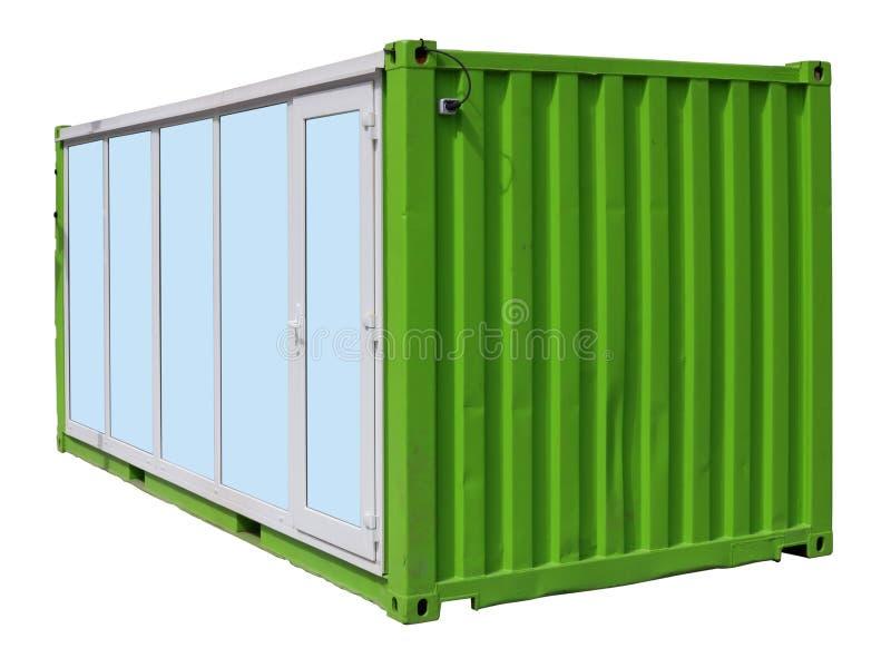 Le kiosque extérieur fait de conteneur vert de fret maritime en métal a isolé images stock