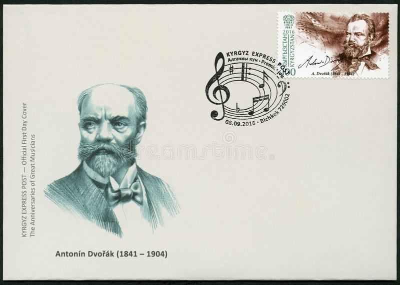 Le KIRGHIZISTAN - 2016 : expositions Antonin Leopold Dvorak 1841-1904, compositeur tchèque images stock