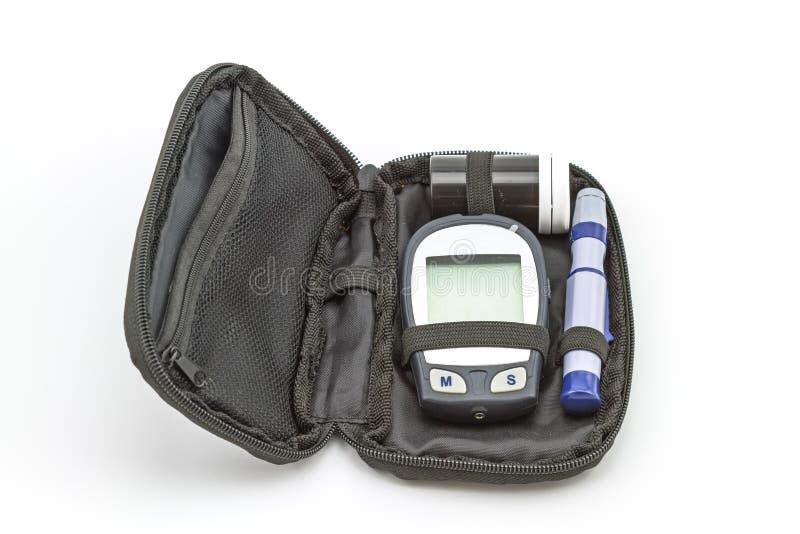 Le kit d'essai de mètre de glucose sanguin, la valeur de sucre de sang est mesuré image libre de droits