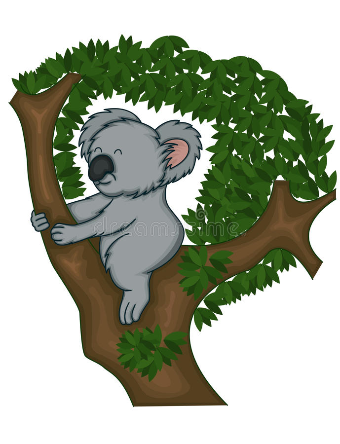 Le koala concernent l'arbre illustration stock