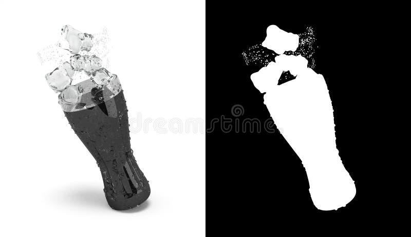 Le kola en verre avec de la glace 3d rendent sur le blanc avec l'alpha illustration libre de droits
