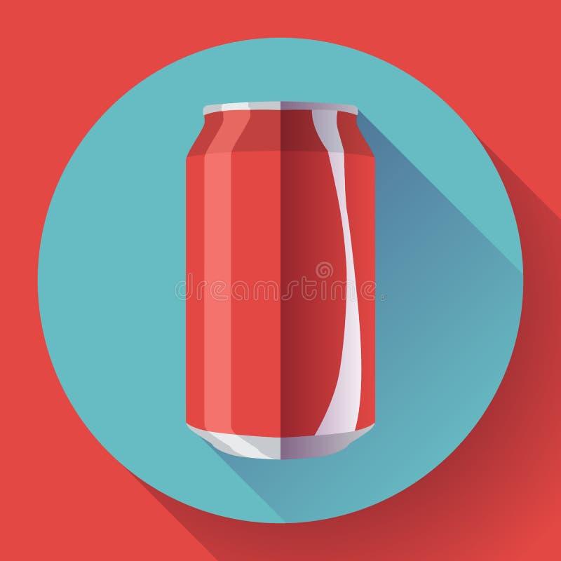 Le kola plat peut kola d'illustration de vecteur de boîte de soude peut diriger l'icône illustration libre de droits