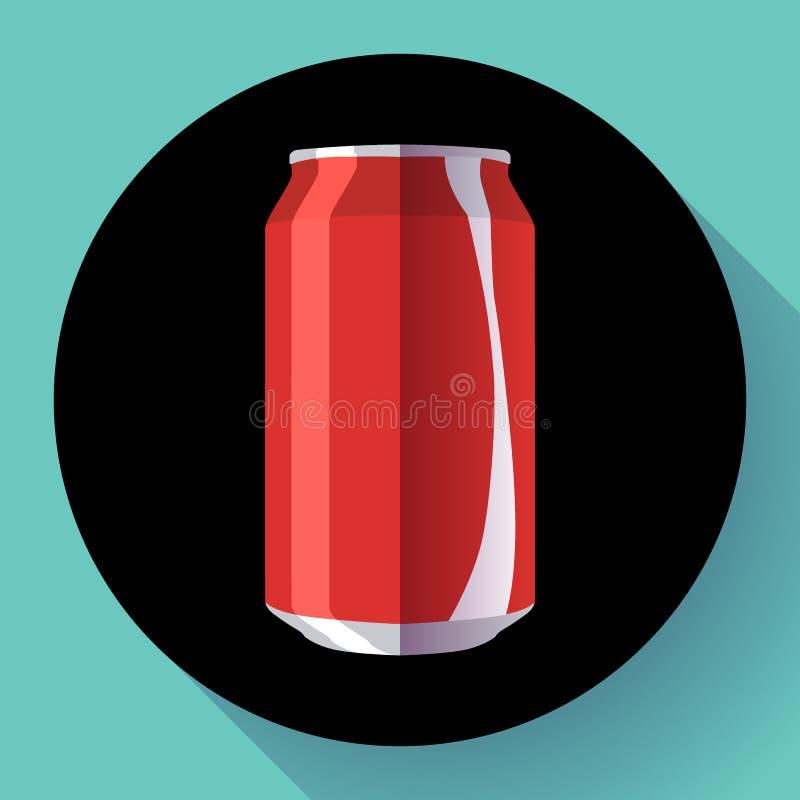 Le kola plat peut kola d'illustration de vecteur de boîte de soude peut diriger l'icône illustration stock