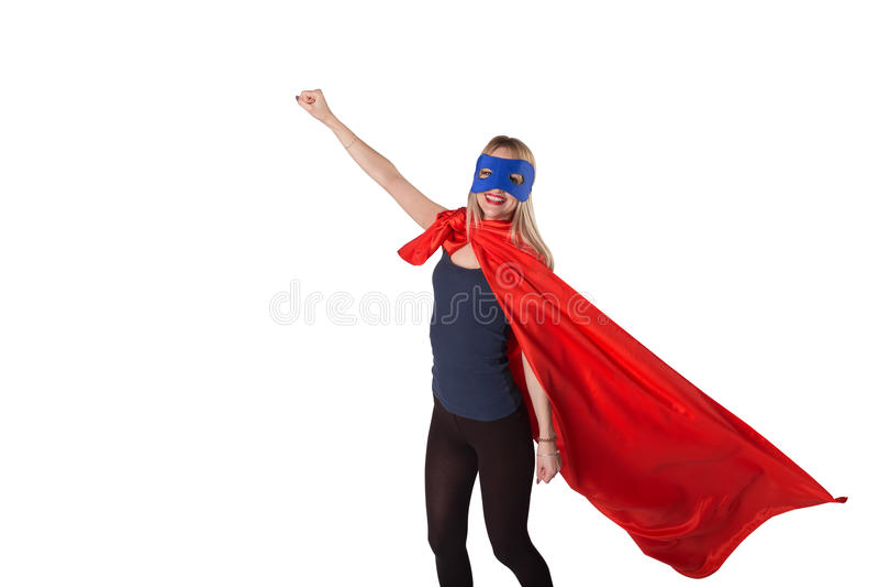 Le kuragekvinnan i superherodräkt royaltyfri bild
