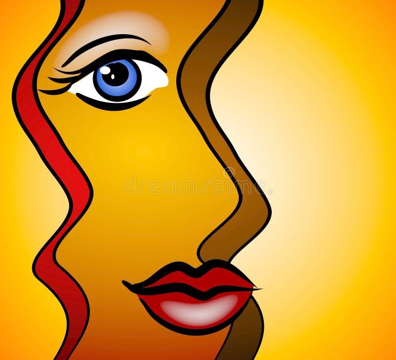 le kvinna för abstrakt framsida vektor illustrationer