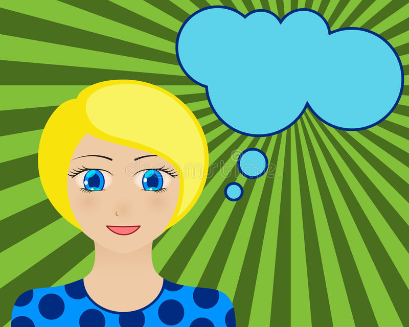 le kvinna för framsida Manga Style Komisk flicka med anförandebubblan för din text blont hår för blåa ögon stock illustrationer