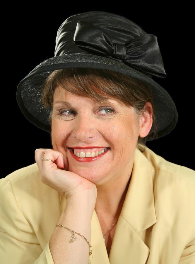 le kvinna för hatt fotografering för bildbyråer