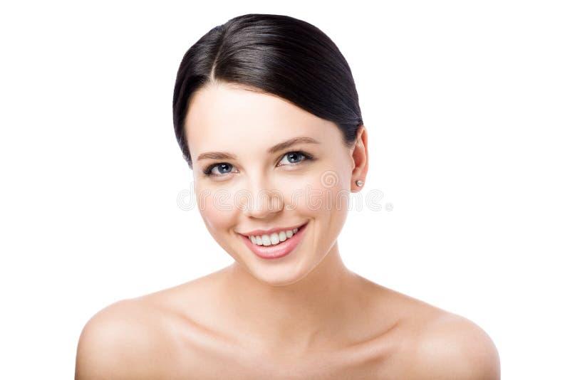 le kvinnabarn Perfekt clean hud vänd kinden mot Closeupskönhetstående arkivfoto