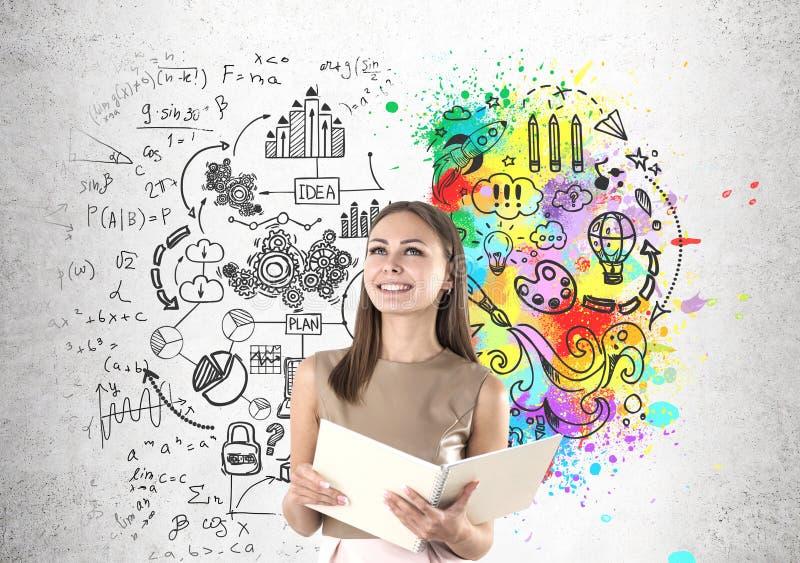 Le kvinnan i beiga- och affärshjärna arkivfoton