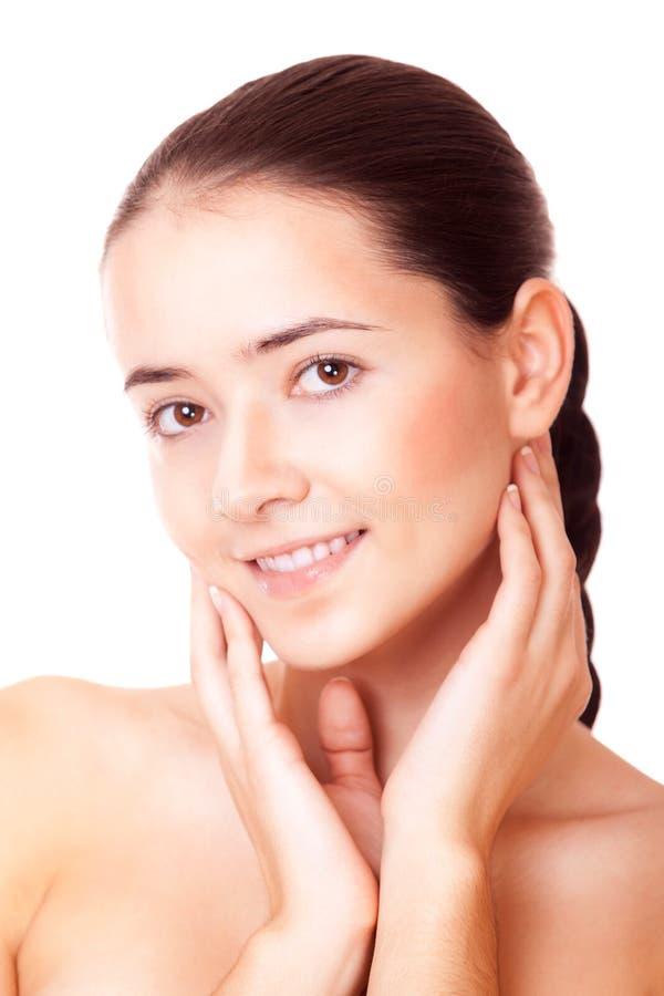 Le kvinnan med sund hud royaltyfria bilder